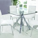 T244 - Contemporary 5 Pcs Dinette Set w/ Faux Leather Chairs (White)