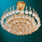D711 - Crystal 9 Light Flush Mount Chandelier (Brass)