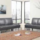SF102 - Platinum Silver Multifunctional Futon/ Sofa Bed (2 Pcs Set)