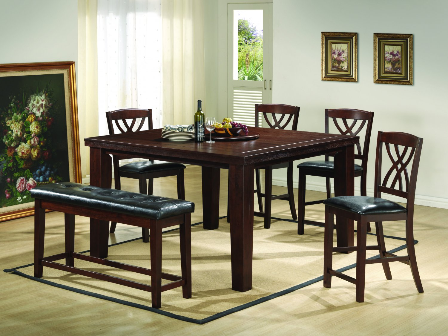 2216 6 Pcs Counter Height Set With Extension Walnut