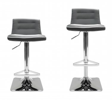 HY6007 - Gray Contemporary 2 Pcs Set Swivel Bar Stools