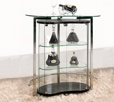 C1003 � Contemporary Bar Table & Wine Cabinet (Black/ Clear Glass)
