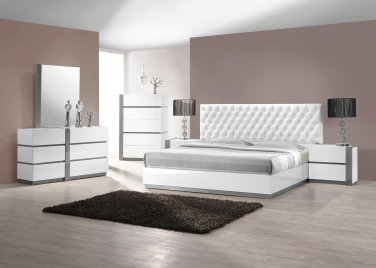 Seville 5 Pcs Queen Bedroom Set Collection w/ Leather Like Headboard