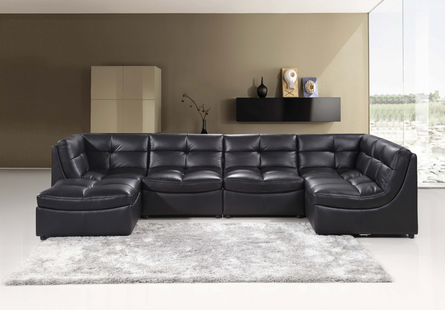 9148 6 pcs black cloud modular sectional w ottoman for Cloud sectional sofa z gallerie