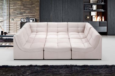 9148 - 6 Pcs (Beige) Cloud Modular Sectional w/ Ottoman