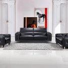 9147 – True Modern Designer Black Faux Leather Living Room Set