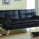 H250 Black Adjustable Faux Leather Futon w/ Chrome Legs