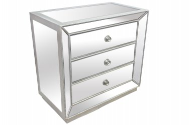 T1803 - Silver Mirrored Glass Bedroom 3 Drawer Nightstand