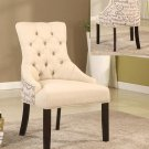 YJ001 – Beige Linen Blend 2 Pcs Accent Chair with Tufted Look