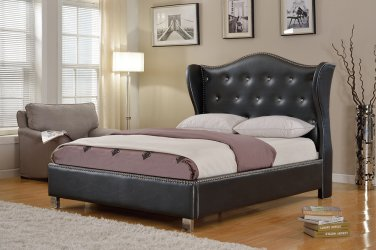 1018 � Emily Silver Bonded Leather Platform Bed with Crystal Like Studs (Eastern King)