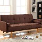 Item: L33303 Mid Century Convertible Sofa Bed Futon (Brown)