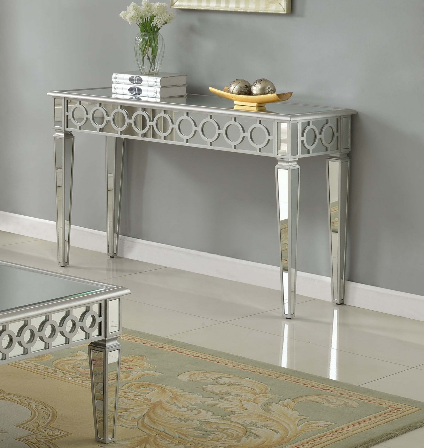 T1840 Sophie Silver Mirrored Living Room Hallway Sofa Table