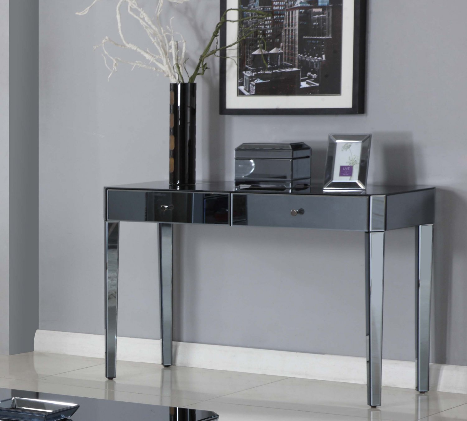 D1120 Empire Smoked Mirror Glass Living Room Console Table