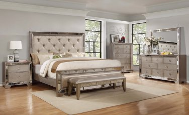 B1980 � Ava Mirrored Silver Bronzed 5 Pcs Bedroom Collection ( Queen Size)