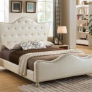 YY15073 – Prague Platform Tufted Look with Crystal Like Studs Bed (Ivory Full)