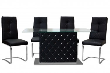 Ericka � Contemporary 5 Pcs Dining Room Set with Glass Top (Black)