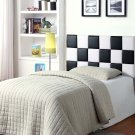 318 – Checkered Faux Leather Head Board (Twin/ Black & White)
