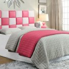 318 – Checkered Faux Leather Head Board (Twin/ Pink & White)