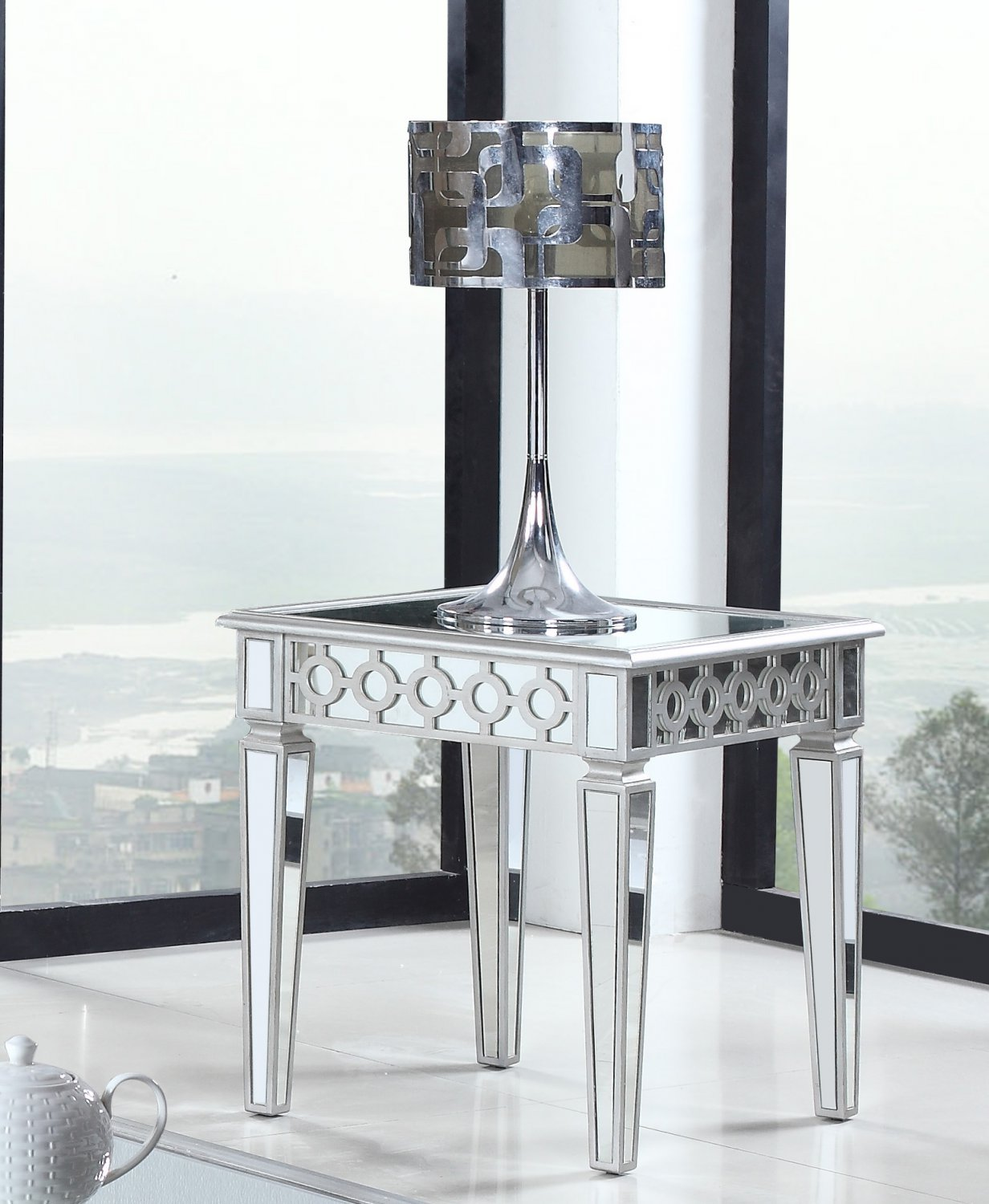mirrored side table living room t1840 silver mirrored living room end table 22804
