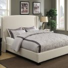 6014 – Morgan Upholstered Canvas Platform Bed with Champagne Nail Heads  (Queen)