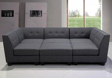 R168 �6 Pcs Vendome Modular Gray Fabric Living Room Sectional