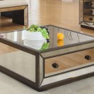 T1805 - Silver Mirrored with Hazelnut Trimming Glass Coffee Living Room Tables