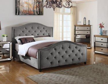 FRA2011 Nicolette Upholstered Velvet Platform Bed (Otter Color)  Eastern King