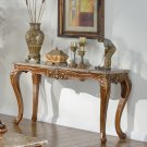 150 – Traditional Marble Living Room Sofa Table (Walnut with Gold Trimmings)