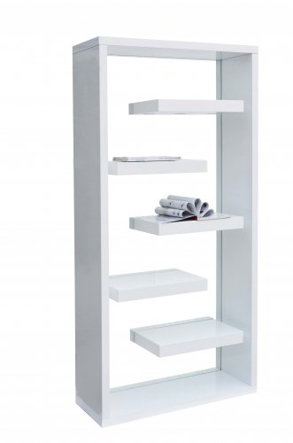 BS1 � Modern Helix White with Glass Curio with Shelves in High Gloss