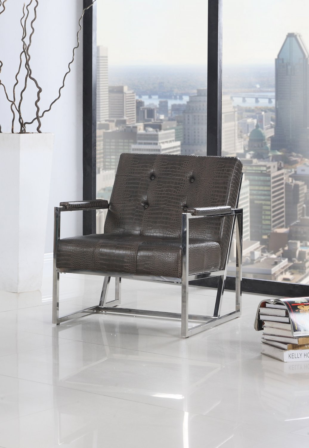 Y226 � Cunningham Living Room/ Office Chrome Arm Chair (Brown)