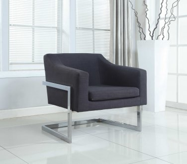 3016 � Modern Living Room Chrome Accent Chair (Charcoal)