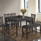 Betty 6 pcs Counter Height Dining Set with Extension and Lazy Susan (Grey)