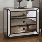 T1805 – Silver with Hazelnut Trimming Mirrored 3 Drawer Night Stand