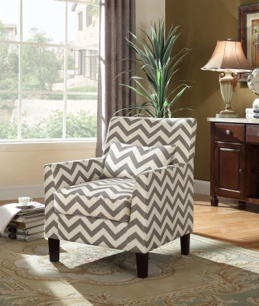 614 � Cassidy Upholstered Living Room Accent Arm Chair (Grey/White)