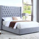 385 – High Profile Light Grey Velvet Upholstered Bed (Queen)