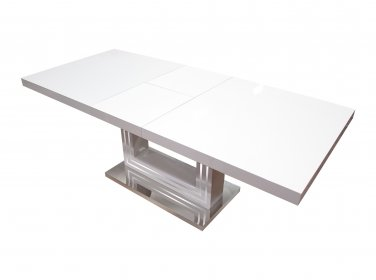 BA207 � Modern White Dining Table with Butterfly Leaf Extension