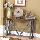 DX500 – Durham Walnut w/ Brushed Grey Iron Sofa Table