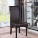 613 – Zander Upholstered Faux Leather Brown Dining Side Chairs ( Set of 2 )