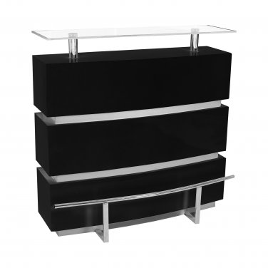 TR22 � Helix Mini Modern Bar Table with Clear Glass Top (Black)