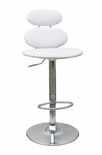 D285 � Monroe Upholstered Leather Adjustable Bar Stool (White)