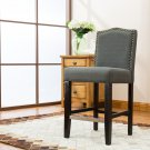 5089 – Lindon 24 Inch Upholstered Dark Gray Bar Stools (Set of 2)