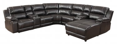 8501 � Milo 7 Pcs Espresso Sectional with Storage Unit and Cup Holders