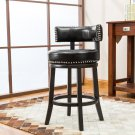 "5090 – Murphy 24"" Inch Faux Leather Swivel Black Bar Stools (Set of 2)"