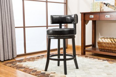 5090 � Murphy 24� Inch Faux Leather Swivel Black Bar Stools (Set of 2)