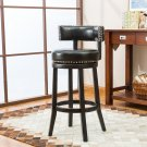 "5090 – Murphy 29"" Inch Faux Leather Swivel Black Bar Stools (Set of 2)"