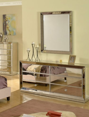 T1803 � Jameson Silver Mirrored Bedroom Dresser & Mirror