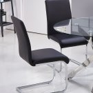T01 – Alison White Modern Chrome Black Dining Side Chairs (Set of 2)