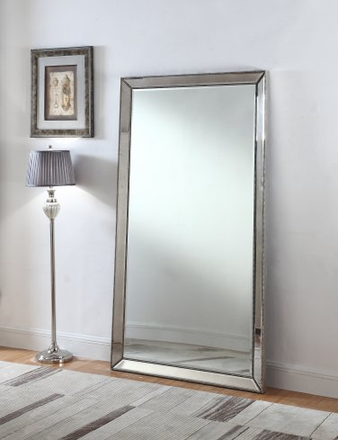 T1803 � Jameson Silver Mirrored Floor Mirror (Full Length)