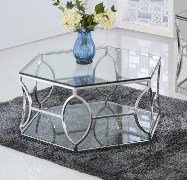 GW119 � Brooke Hexagonal Silver Clear Coffee Glass Table
