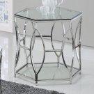GW119 – Brooke Hexagonal Silver Clear End Glass Table